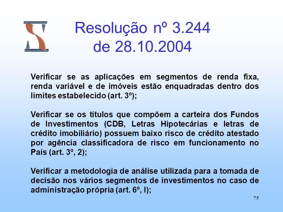 75 Resolução nº 3.244 de 28.10.2004 Verificar se as aplicações em segmentos de renda fixa, renda variável e de imóveis estão enquadradas dentro dos li