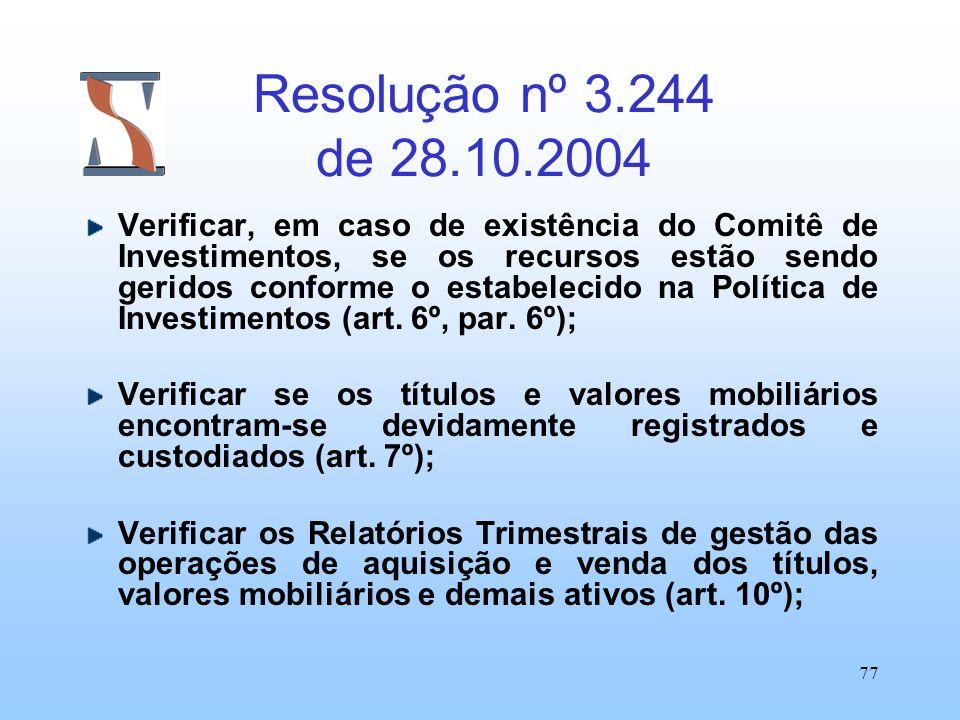 77 Resolução nº 3.244 de 28.10.2004 Verificar, em caso de existência do Comitê de Investimentos, se os recursos estão sendo geridos conforme o estabel