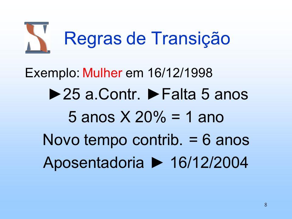 8 Regras de Transição Exemplo: Mulher em 16/12/1998 25 a.Contr. Falta 5 anos 5 anos X 20% = 1 ano Novo tempo contrib. = 6 anos Aposentadoria 16/12/200