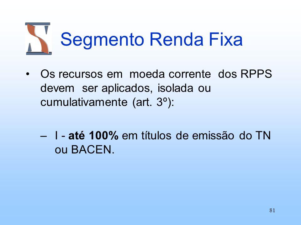 81 Segmento Renda Fixa Os recursos em moeda corrente dos RPPS devem ser aplicados, isolada ou cumulativamente (art. 3º): –I - até 100% em títulos de e