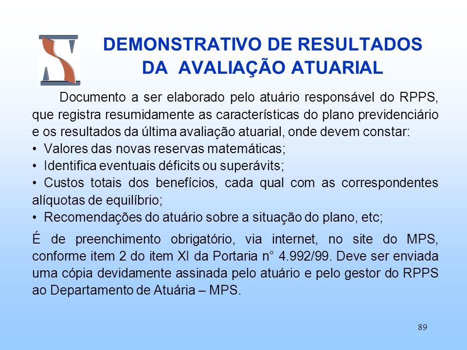 89 DEMONSTRATIVO DE RESULTADOS DA AVALIAÇÃO ATUARIAL Documento a ser elaborado pelo atuário responsável do RPPS, que registra resumidamente as caracte
