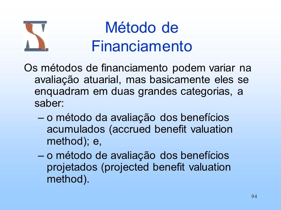 94 Método de Financiamento Os métodos de financiamento podem variar na avaliação atuarial, mas basicamente eles se enquadram em duas grandes categoria
