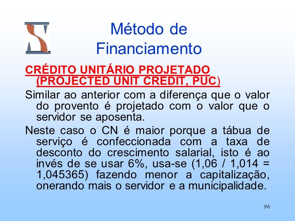 96 Método de Financiamento CRÉDITO UNITÁRIO PROJETADO (PROJECTED UNIT CREDIT, PUC) Similar ao anterior com a diferença que o valor do provento é proje