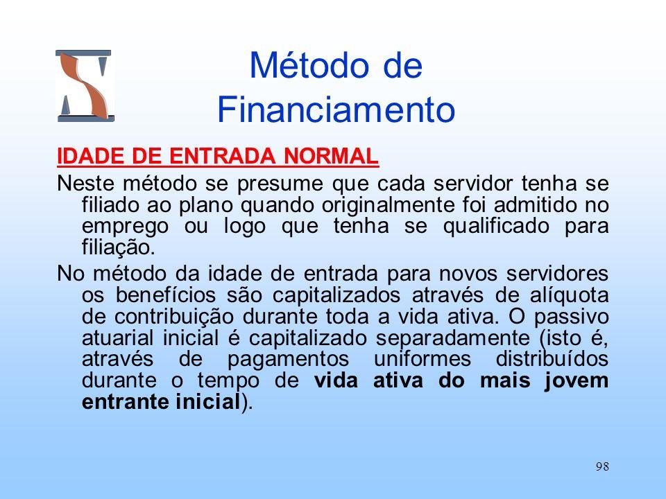 98 Método de Financiamento IDADE DE ENTRADA NORMAL Neste método se presume que cada servidor tenha se filiado ao plano quando originalmente foi admiti