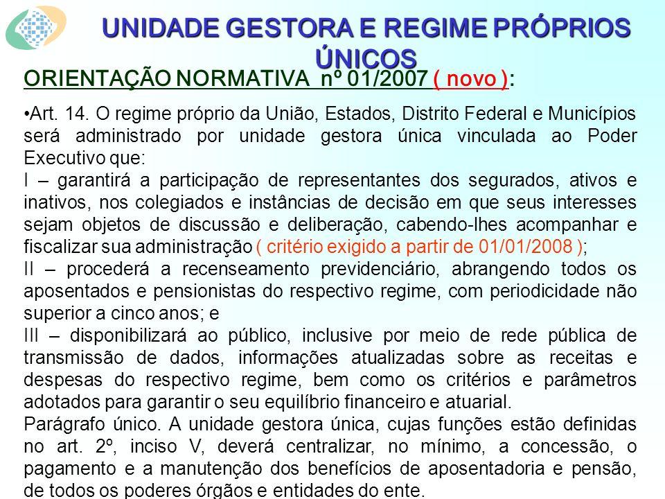UNIDADE GESTORA E REGIME PRÓPRIOS ÚNICOS ORIENTAÇÃO NORMATIVA nº 01/2007 ( novo ): Art.