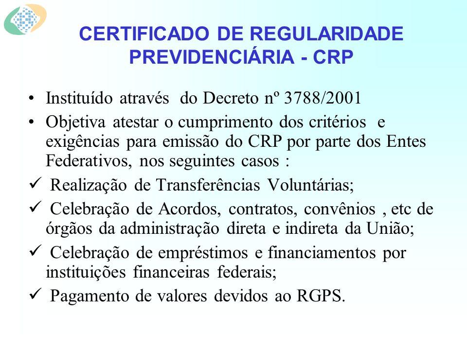 CERTIFICADO DE REGULARIDADE PREVIDENCIÁRIA - CRP Instituído através do Decreto nº 3788/2001 Objetiva atestar o cumprimento dos critérios e exigências para emissão do CRP por parte dos Entes Federativos, nos seguintes casos : Realização de Transferências Voluntárias; Celebração de Acordos, contratos, convênios, etc de órgãos da administração direta e indireta da União; Celebração de empréstimos e financiamentos por instituições financeiras federais; Pagamento de valores devidos ao RGPS.