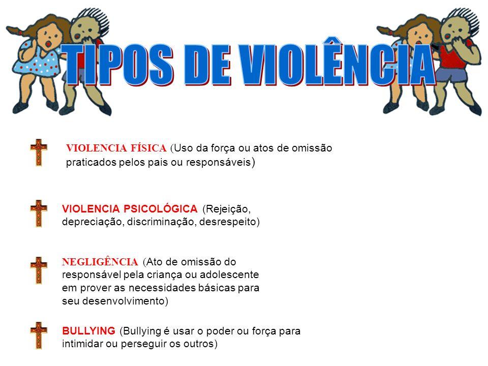 VIOLENCIA FÍSICA ( Uso da força ou atos de omissão praticados pelos pais ou responsáveis ) VIOLENCIA PSICOLÓGICA (Rejeição, depreciação, discriminação
