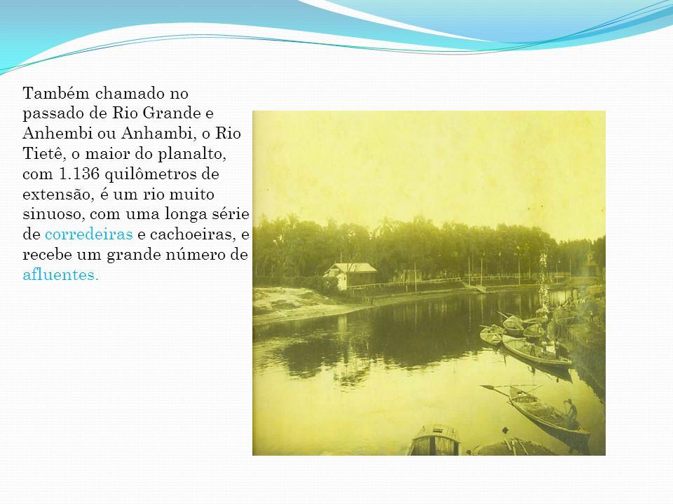 Também chamado no passado de Rio Grande e Anhembi ou Anhambi, o Rio Tietê, o maior do planalto, com 1.136 quilômetros de extensão, é um rio muito sinu