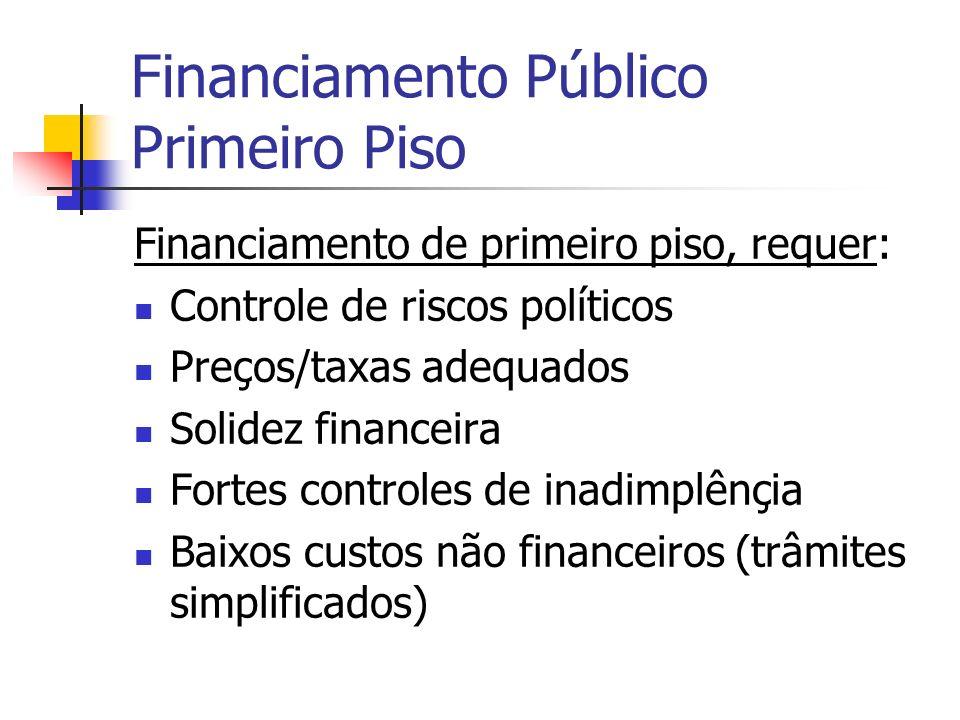 Financiamento Público Primeiro Piso Financiamento de primeiro piso, requer: Controle de riscos políticos Preços/taxas adequados Solidez financeira For
