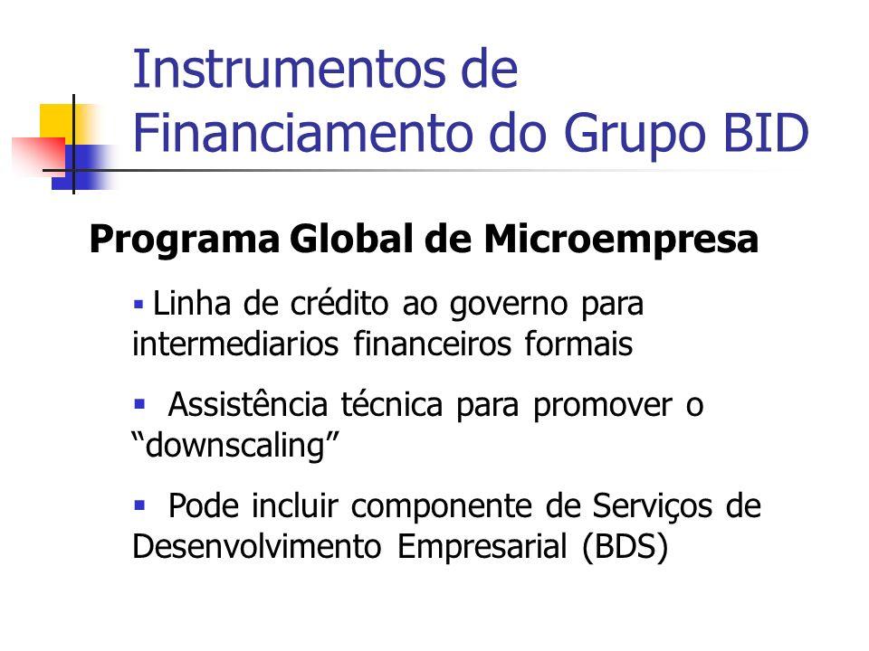 Instrumentos de Financiamento do Grupo BID Programa Global de Microempresa Linha de crédito ao governo para intermediarios financeiros formais Assistência técnica para promover o downscaling Pode incluir componente de Serviços de Desenvolvimento Empresarial (BDS)