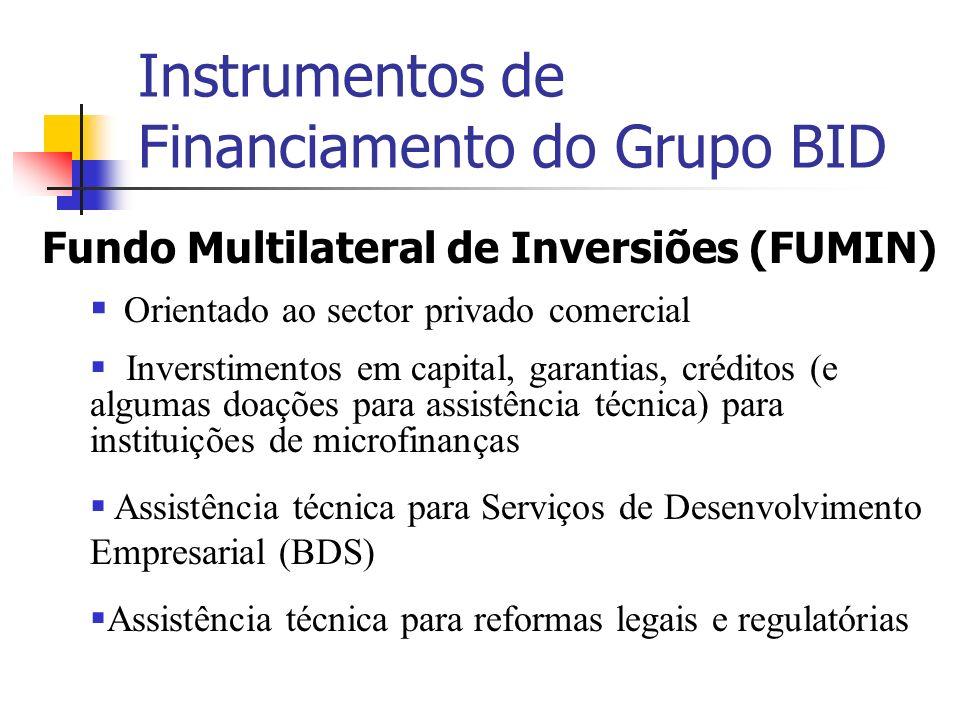 Instrumentos de Financiamento do Grupo BID Fundo Multilateral de Inversiões (FUMIN) Orientado ao sector privado comercial Inverstimentos em capital, g