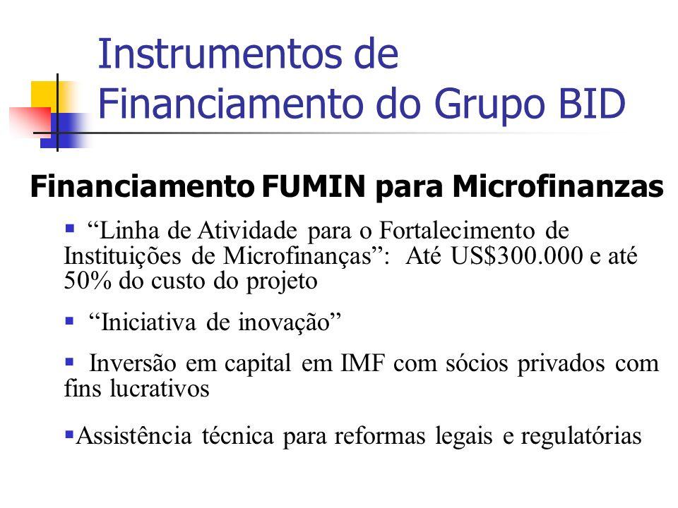 Instrumentos de Financiamento do Grupo BID Financiamento FUMIN para Microfinanzas Linha de Atividade para o Fortalecimento de Instituições de Microfin