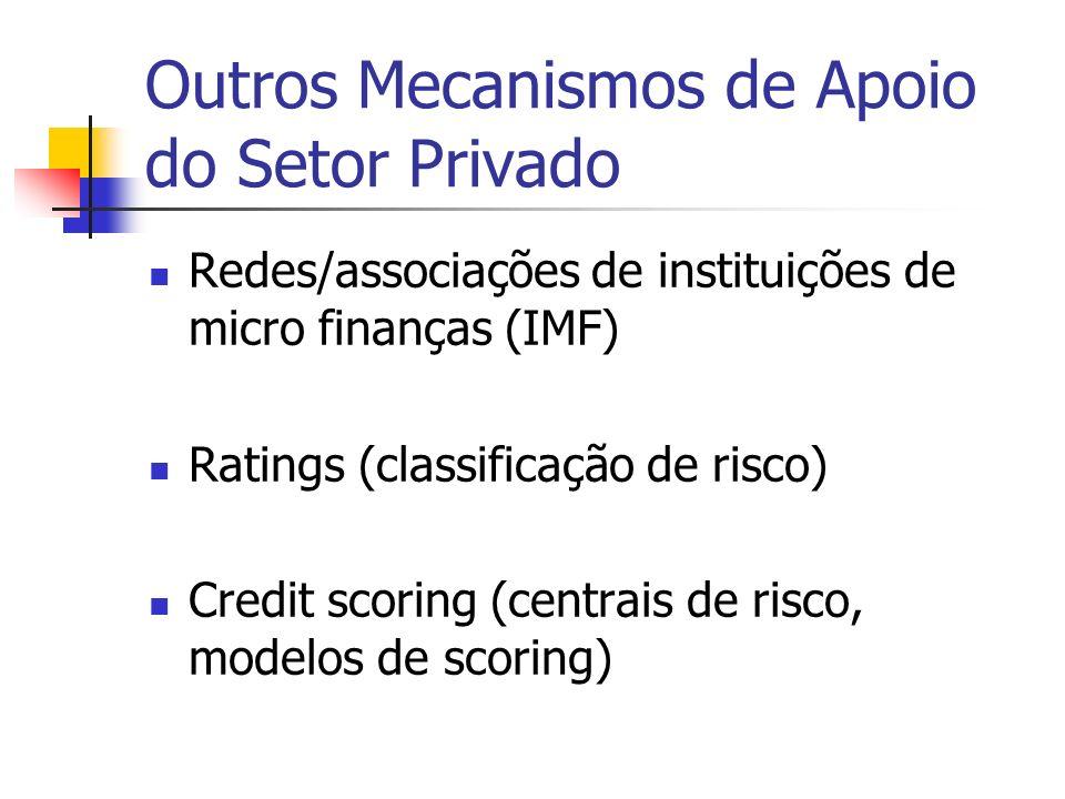 Outros Mecanismos de Apoio do Setor Privado Redes/associações de instituições de micro finanças (IMF) Ratings (classificação de risco) Credit scoring