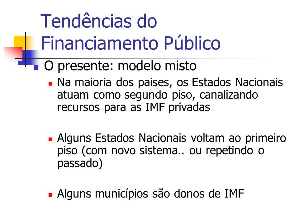 Tendências do Financiamento Público O presente: modelo misto Na maioria dos paises, os Estados Nacionais atuam como segundo piso, canalizando recursos