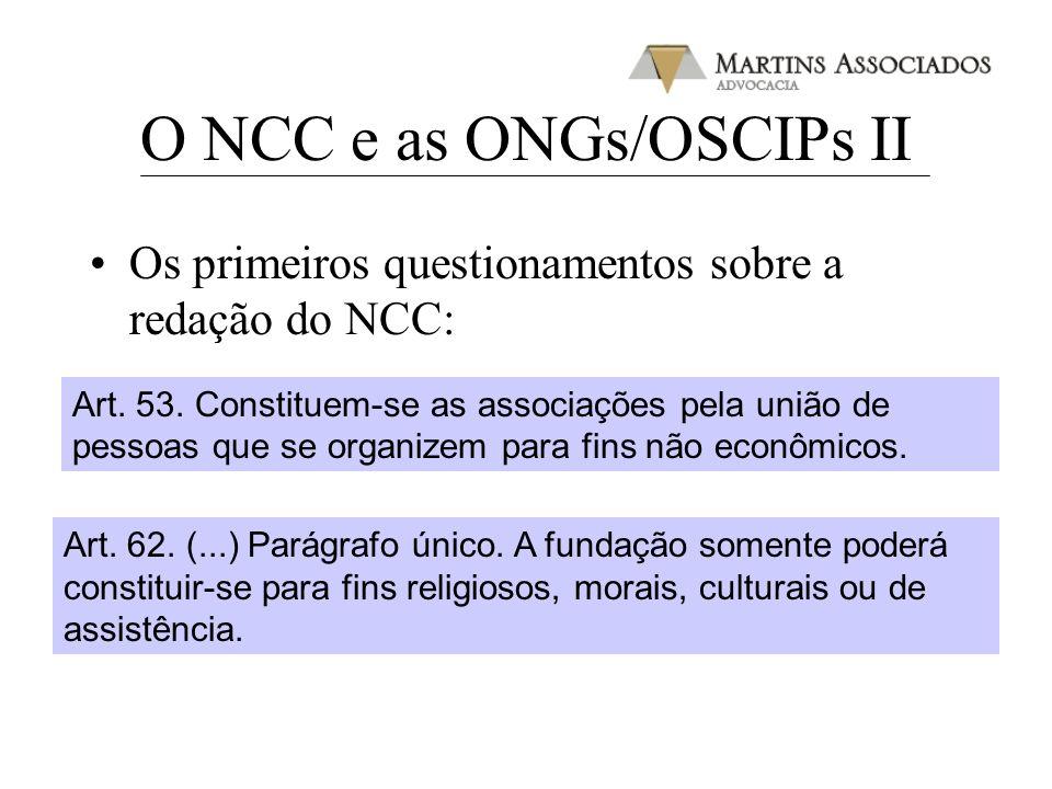 O NCC e as ONGs/OSCIPs II Os primeiros questionamentos sobre a redação do NCC: Art. 53. Constituem-se as associações pela união de pessoas que se orga