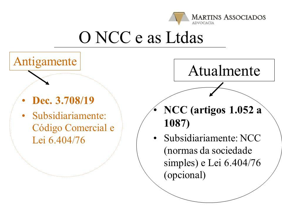 O NCC e as Ltdas Dec. 3.708/19 Subsidiariamente: Código Comercial e Lei 6.404/76 NCC (artigos 1.052 a 1087) Subsidiariamente: NCC (normas da sociedade