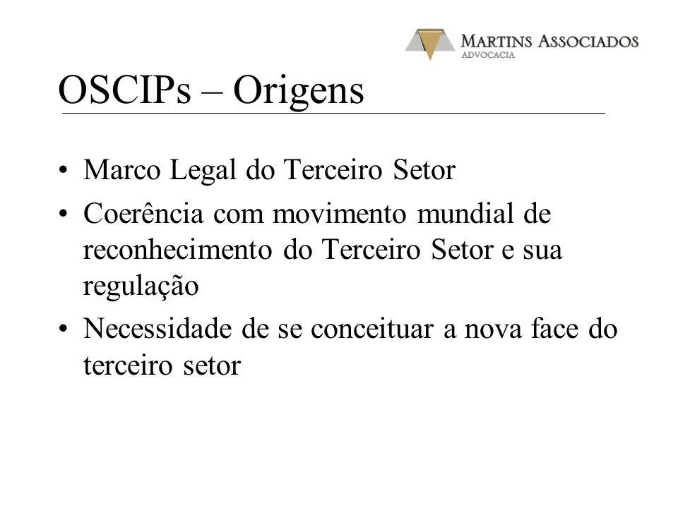 OSCIPs – Origens Marco Legal do Terceiro Setor Coerência com movimento mundial de reconhecimento do Terceiro Setor e sua regulação Necessidade de se c