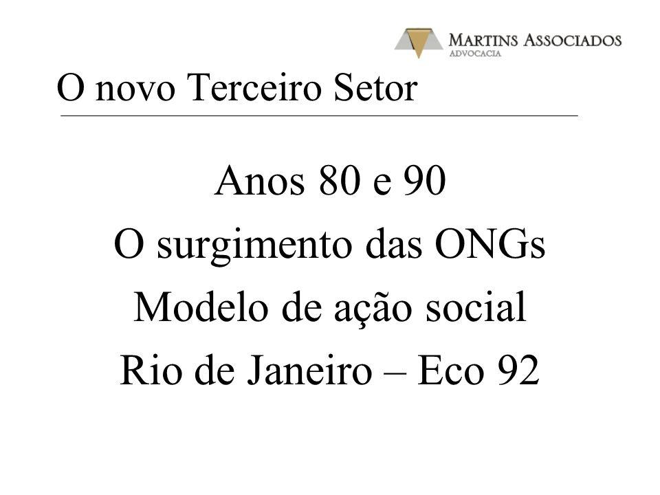 O novo Terceiro Setor Anos 80 e 90 O surgimento das ONGs Modelo de ação social Rio de Janeiro – Eco 92