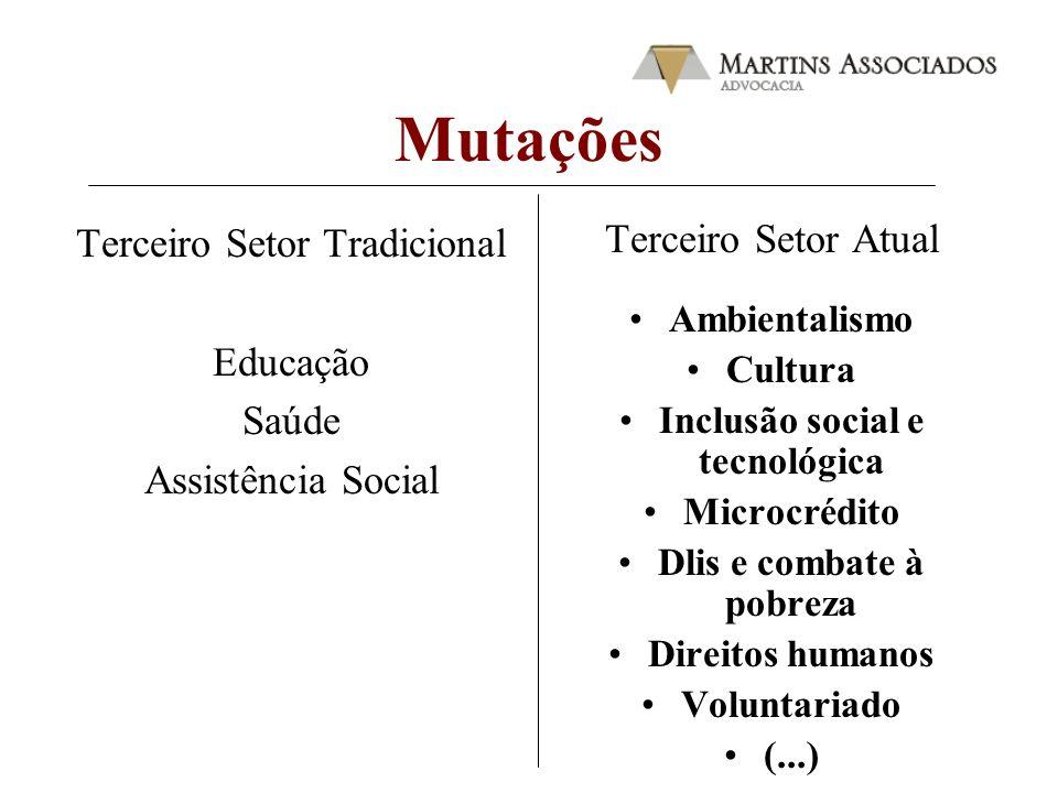 Mutações Terceiro Setor Tradicional Educação Saúde Assistência Social Terceiro Setor Atual Ambientalismo Cultura Inclusão social e tecnológica Microcr