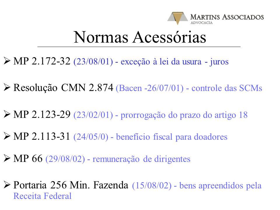 Normas Acessórias MP 2.172-32 (23/08/01) - exceção à lei da usura - juros Resolução CMN 2.874 (Bacen -26/07/01) - controle das SCMs MP 2.123-29 (23/02