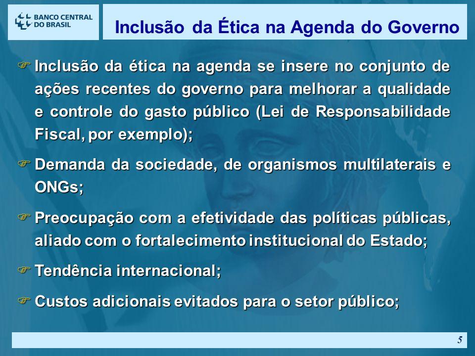 5 FInclusão da ética na agenda se insere no conjunto de ações recentes do governo para melhorar a qualidade e controle do gasto público (Lei de Responsabilidade Fiscal, por exemplo); FDemanda da sociedade, de organismos multilaterais e ONGs; FPreocupação com a efetividade das políticas públicas, aliado com o fortalecimento institucional do Estado; FTendência internacional; FCustos adicionais evitados para o setor público; Inclusão da Ética na Agenda do Governo