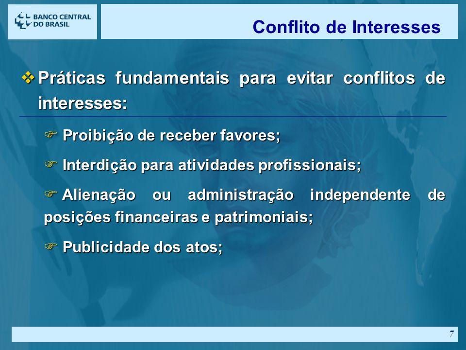 6 vGoverno - potencial conflito de interesses entre o público e o privado: F Informações privilegiadas e confidenciais; F Atividades políticas; F Hospedagem e transporte; F Presentes e brindes; F Aplicações financeiras; Conflito de Interesses