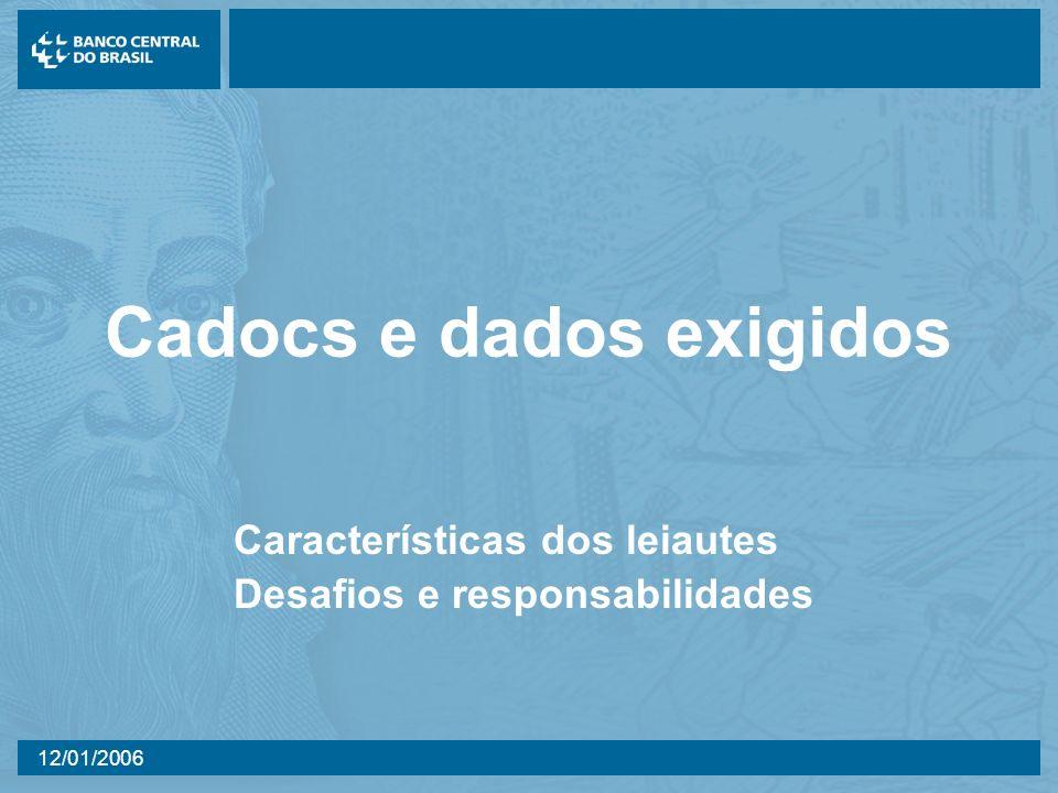 12/01/2006 Cadocs e dados exigidos Características dos leiautes Desafios e responsabilidades