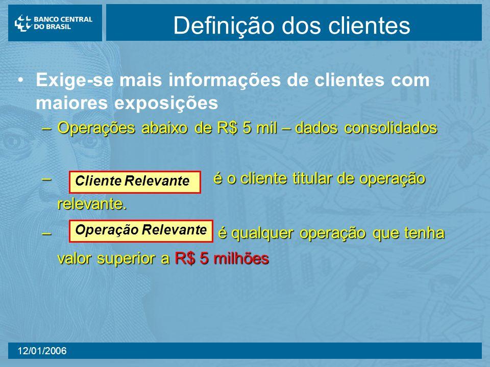 12/01/2006 Definição dos clientes Exige-se mais informações de clientes com maiores exposições –Operações abaixo de R$ 5 mil – dados consolidados –é o cliente titular de operação relevante.