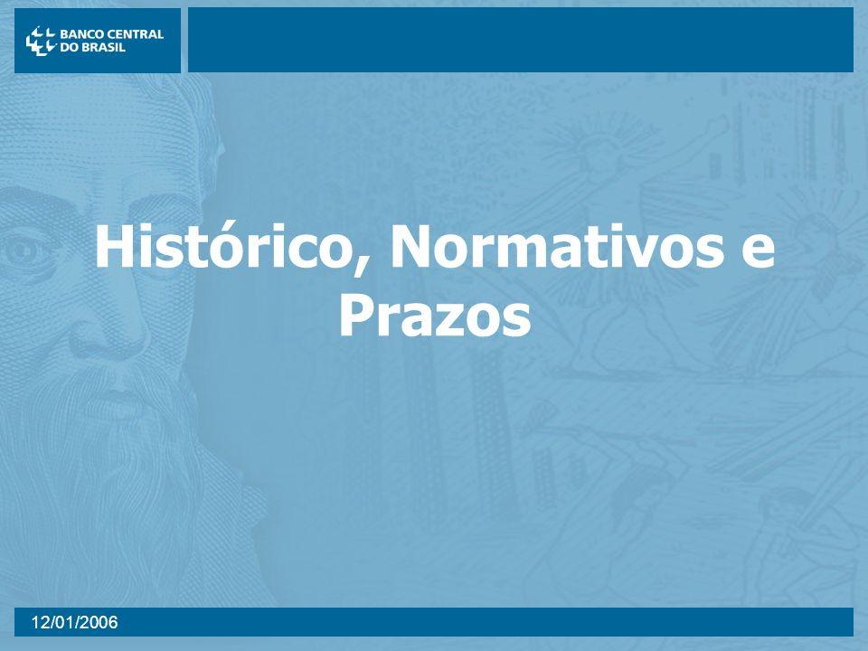 12/01/2006 Histórico, Normativos e Prazos
