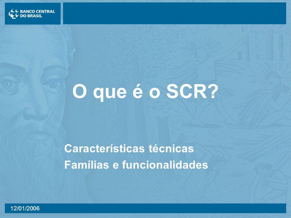 12/01/2006 O que é o SCR? Características técnicas Famílias e funcionalidades