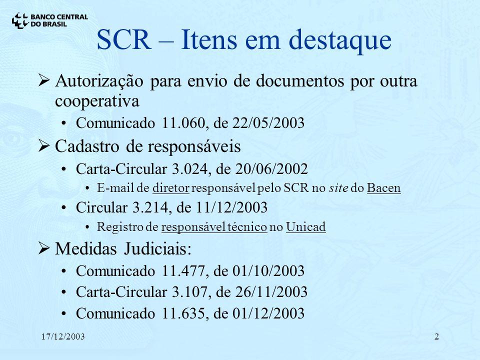 17/12/20032 SCR – Itens em destaque Autorização para envio de documentos por outra cooperativa Comunicado 11.060, de 22/05/2003 Cadastro de responsáve