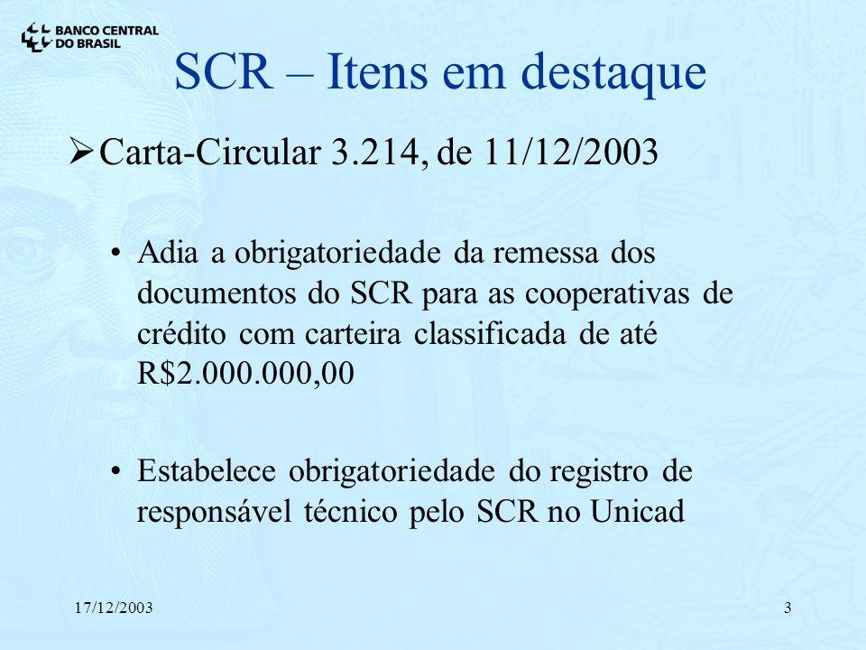 17/12/20033 SCR – Itens em destaque Carta-Circular 3.214, de 11/12/2003 Adia a obrigatoriedade da remessa dos documentos do SCR para as cooperativas d