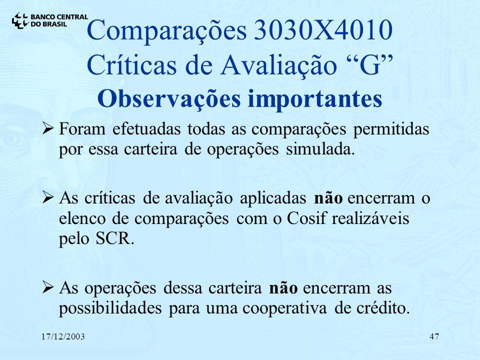 17/12/200347 Comparações 3030X4010 Críticas de Avaliação G Observações importantes Foram efetuadas todas as comparações permitidas por essa carteira d