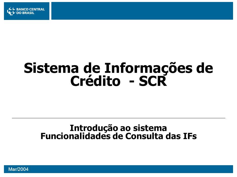Mar/2004 Sistema de Informações de Crédito - SCR Introdução ao sistema Funcionalidades de Consulta das IFs