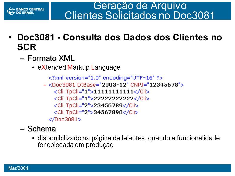 Mar/2004 Geração de Arquivo Clientes Solicitados no Doc3081 Doc3081 - Consulta dos Dados dos Clientes no SCR –Formato XML eXtended Markup Language –Sc
