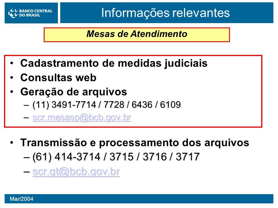 Mar/2004 Cadastramento de medidas judiciais Consultas web Geração de arquivos –(11) 3491-7714 / 7728 / 6436 / 6109 –scr.mesasp@bcb.gov.br scr.mesasp@b