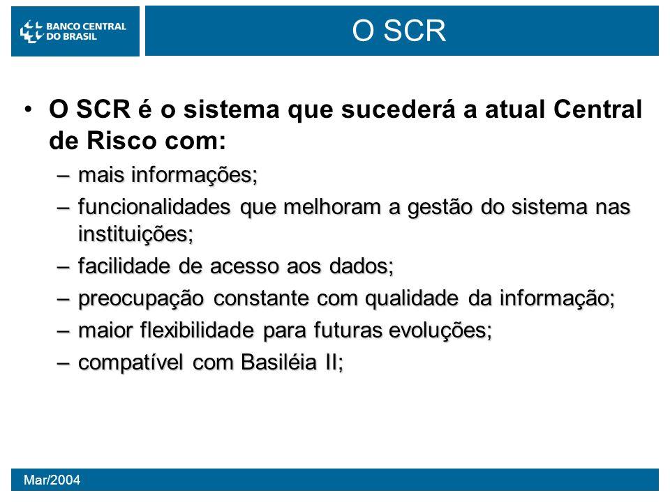Mar/2004 O SCR O SCR é o sistema que sucederá a atual Central de Risco com: –mais informações; –funcionalidades que melhoram a gestão do sistema nas i