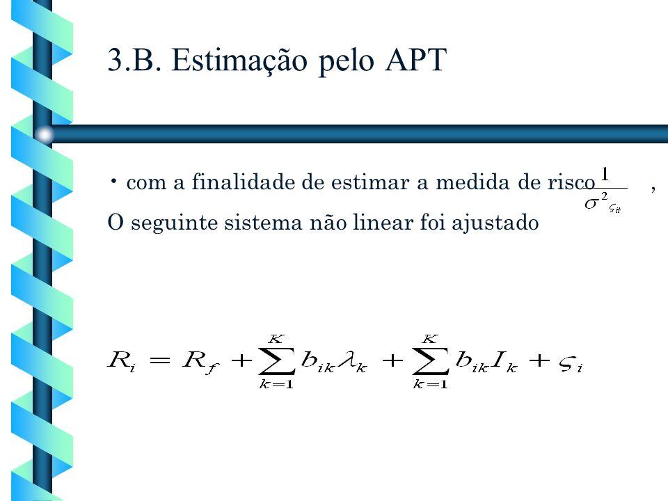 com a finalidade de estimar a medida de risco, O seguinte sistema não linear foi ajustado 3.B. Estimação pelo APT