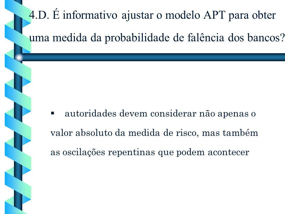 4.D. É informativo ajustar o modelo APT para obter uma medida da probabilidade de falência dos bancos? autoridades devem considerar não apenas o valor
