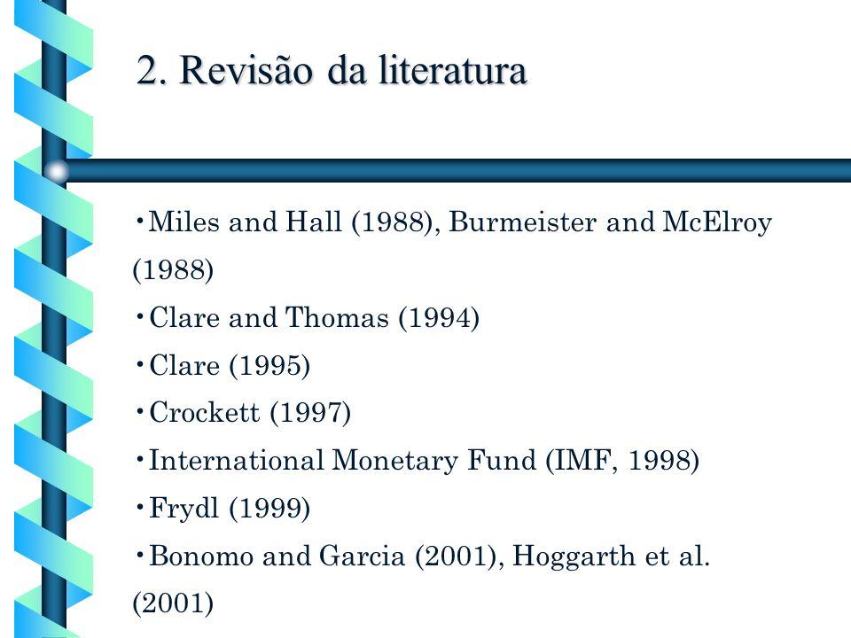 2. Revisão da literatura Miles and Hall (1988), Burmeister and McElroy (1988) Clare and Thomas (1994) Clare (1995) Crockett (1997) International Monet
