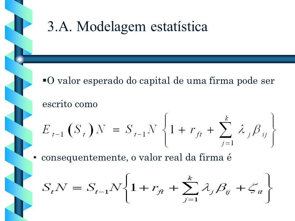O valor esperado do capital de uma firma pode ser escrito como consequentemente, o valor real da firma é 3.A. Modelagem estatística