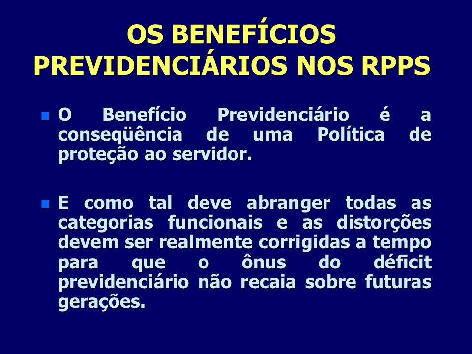 OS BENEFÍCIOS PREVIDENCIÁRIOS NOS RPPS n O Benefício Previdenciário é a conseqüência de uma Política de proteção ao servidor. n E como tal deve abrang