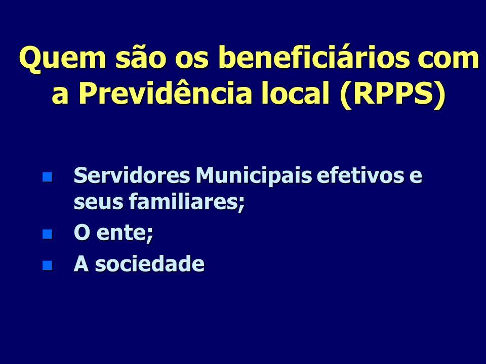Quem são os beneficiários com a Previdência local (RPPS) n Servidores Municipais efetivos e seus familiares; n O ente; n A sociedade