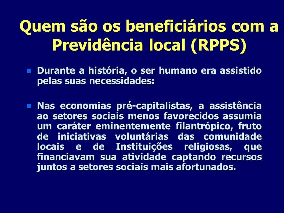 Quem são os beneficiários com a Previdência local (RPPS) n Durante a história, o ser humano era assistido pelas suas necessidades: n Nas economias pré