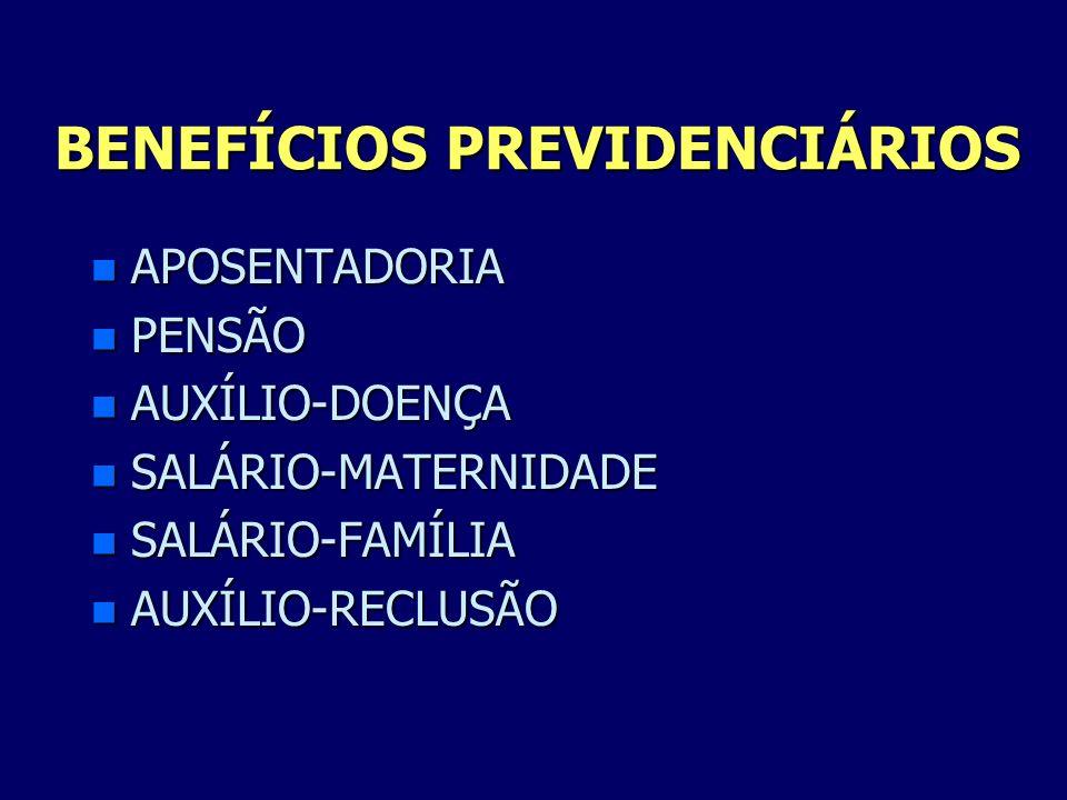 BENEFÍCIOS PREVIDENCIÁRIOS n APOSENTADORIA n PENSÃO n AUXÍLIO-DOENÇA n SALÁRIO-MATERNIDADE n SALÁRIO-FAMÍLIA n AUXÍLIO-RECLUSÃO