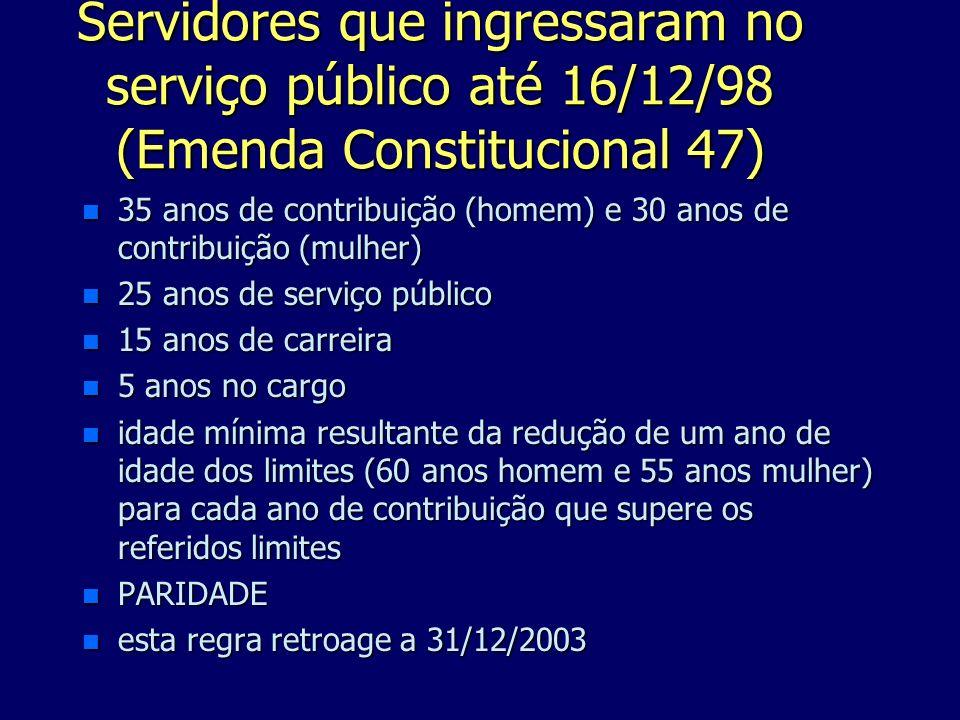 Servidores que ingressaram no serviço público até 16/12/98 (Emenda Constitucional 47) n 35 anos de contribuição (homem) e 30 anos de contribuição (mul