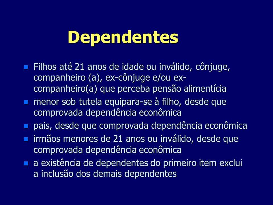 Dependentes n Filhos até 21 anos de idade ou inválido, cônjuge, companheiro (a), ex-cônjuge e/ou ex- companheiro(a) que perceba pensão alimentícia n m