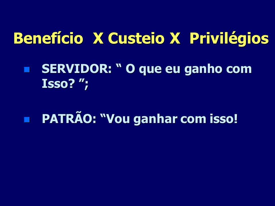 Benefício X Custeio X Privilégios n SERVIDOR: O que eu ganho com Isso? ; n PATRÃO: Vou ganhar com isso!