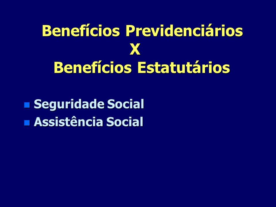 Benefícios Previdenciários X Benefícios Estatutários Benefícios Previdenciários X Benefícios Estatutários n Seguridade Social n Assistência Social