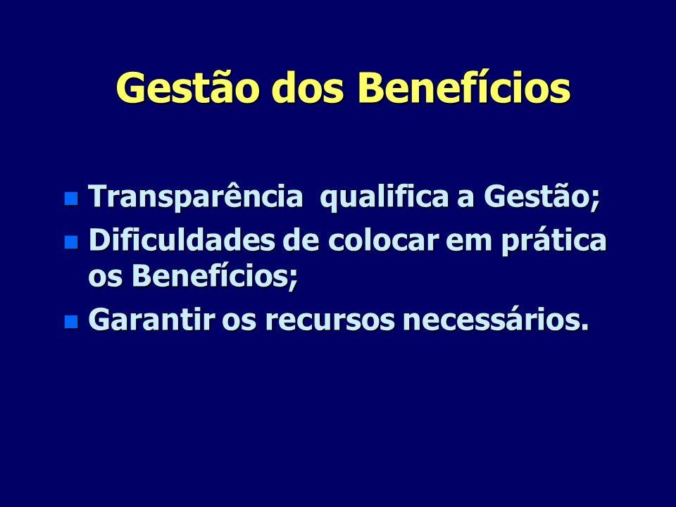 Gestão dos Benefícios n Transparência qualifica a Gestão; n Dificuldades de colocar em prática os Benefícios; n Garantir os recursos necessários.